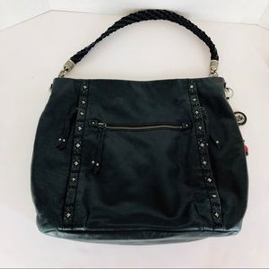 The Sak Black Leather Purse Silver Studs Hobo